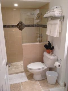 New - Walk in shower - Non slip natural floor - Shower has a seat inside.