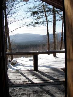 The scene that greets you each time you leave the cozy cabin.