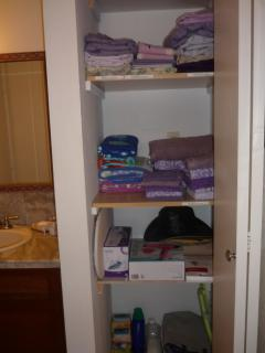 complete bedding, bath towels, beach towels, iron, hairdryer