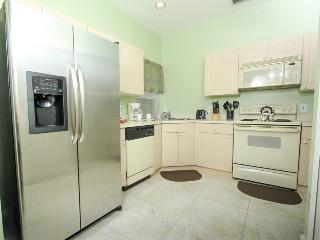 Eat-in kitchen with new tile floors