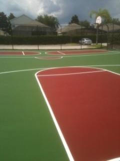 Resurfaced basketball court