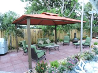 Enjoy the fire pit & new comfy outdoor patio furniture.