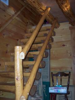 Rustic Log stairway to Loft