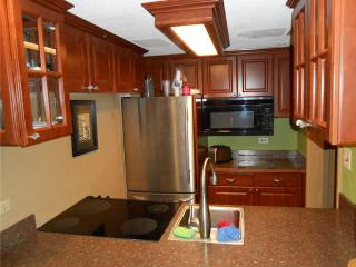 Full size stainless refrigerator and glass top stove. Many appliances included.