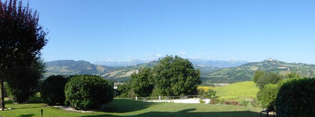 Panoramic views from gardens towards Sibillini Mountains