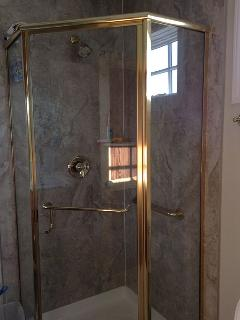 Shower enclosure for downstairs bath. All tile floor, grab bar.