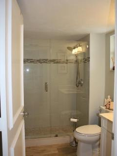 Walk in shower with adjustable shower head.