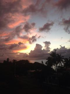 Beautiful sunsets from the roof deck looking toward the big island of Puerto Rico