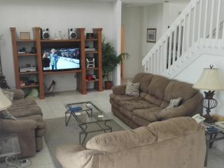 Lounge area with large screen HDTV