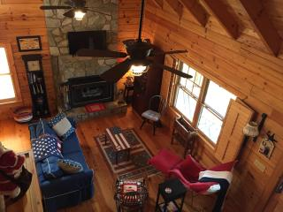 Great room shot from loft with gas log fireplace and cable TV