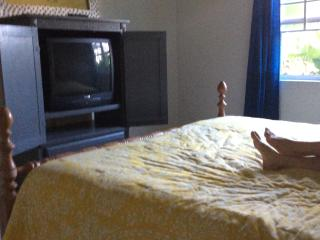 King size bed with basic cable and Apple TV to stream netflicks
