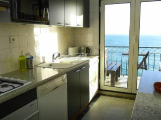 Kitchen with small varanda with sea view.