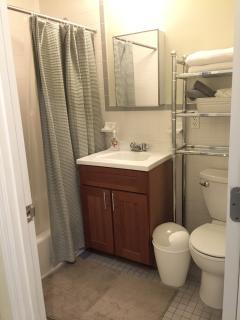 Super clean bath accompanied by super white clean towels along with wash cloths .