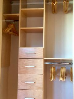 The closet organizer allows you to unpack, settle in, and enjoy your stay!