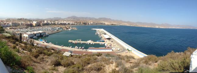 View of Puerto de Mazarron's Marina and Coast Line from El Faro Cafeteria.