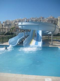 Childrens slides at the main pool area