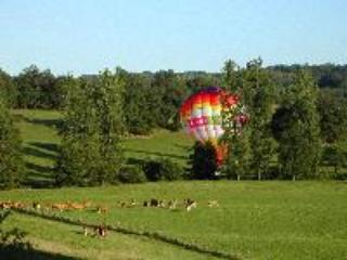 A local company offers balloon rides - here it is landing in the opposite field, by the river!