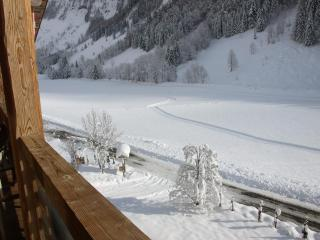 View from the chalet over cross-country ski slopes