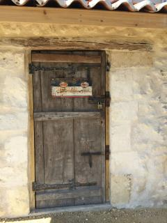 Quirky nooks and crannies abound - this is the pool house door