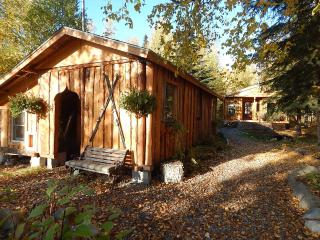 The pathway to the guest cabin leads past the woodshed where we store our winter wood supply.