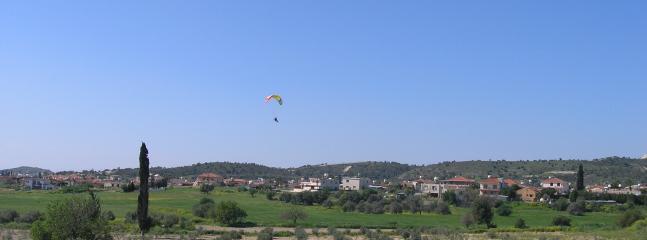 Local kite surfer enjoys the scenery of Alethriko!