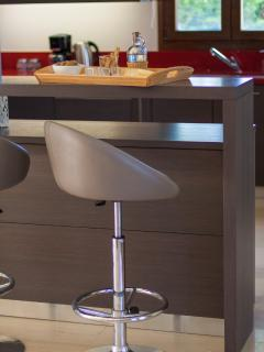 Modern kitchen counter with bar stools at the kitchen area!