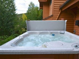 Secluded Jacuzzi hot tub on the  patio.
