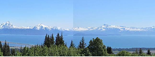View of the Bay and mountains, glaciers from the house