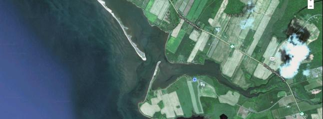 Our Location on Flat River (Blue Dot) 5 minute walk from some amazing beaches on the point.