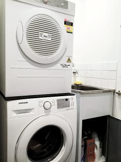 Dryer and Washer, with laundry powder included