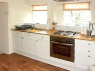 Modern kitchen with fridge freezer, microwave etc.