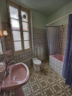 1960s style bathroom :-) (Bath/shower and WC) en-suite in the Double Room