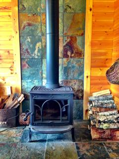 Keep warm with the well stocked wood stove.