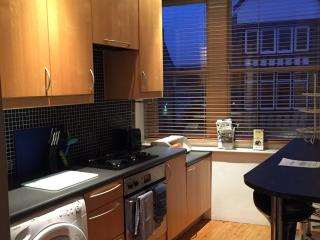Fully fitted Kitchen, gas hob, electric oven, microwave, fridge, washing machine & toaster