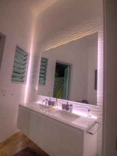 our baths with 3d tiles and indirect lighting