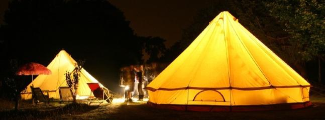 What a beautiful tent for GLAMPING BY THE POND!