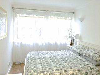 Kingsize bed. Large windows with blackout blinds. Mirrored wardrobe. Chest of drawers