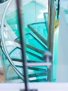 glass steps to the top floor