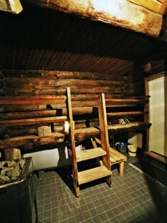 A wood heated sauna in the main building
