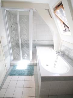 Bath tub and shower.