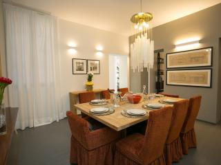 The dining room has plenty of space for up to eight dinner guests