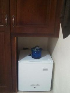 Cabinets and small fridge in Room No. A2