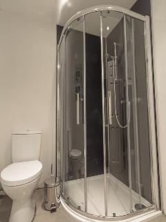 Downstairs shower room with power shower and WC