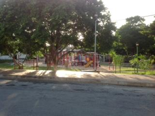 Park across the street with a beautiful new playground for the children