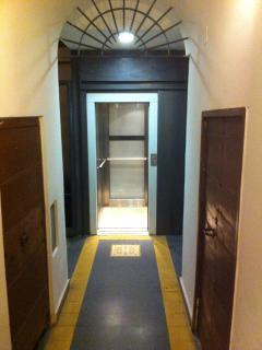 Building entrance with huge elevator