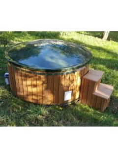 The Blue Texel Shepherd's Huts Wooden Hot Tub.