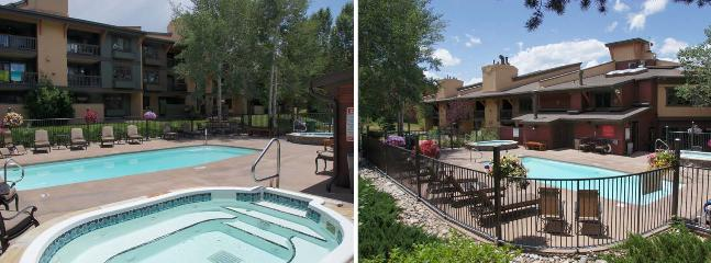 Pool and Hot Tub area in the Summer with comfy Lounge Furniture, Flower Baskets