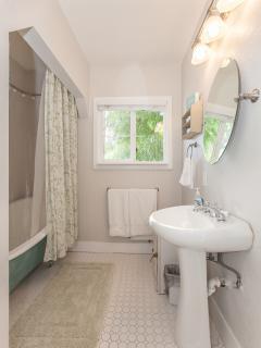 Hallway full bath with a clawfoot tub and shower.