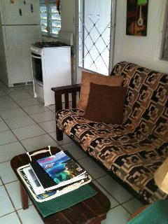 Living room with door to balcony.