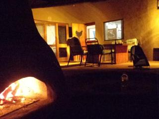 view from pizza oven towards patio